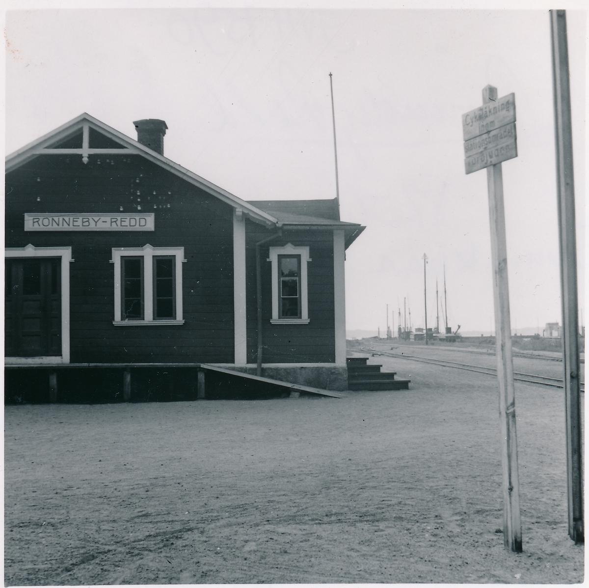 Mellersta Blekinge Järnväg, MBIJ. Ronneby-Redd stationshus den 10/7 1943.