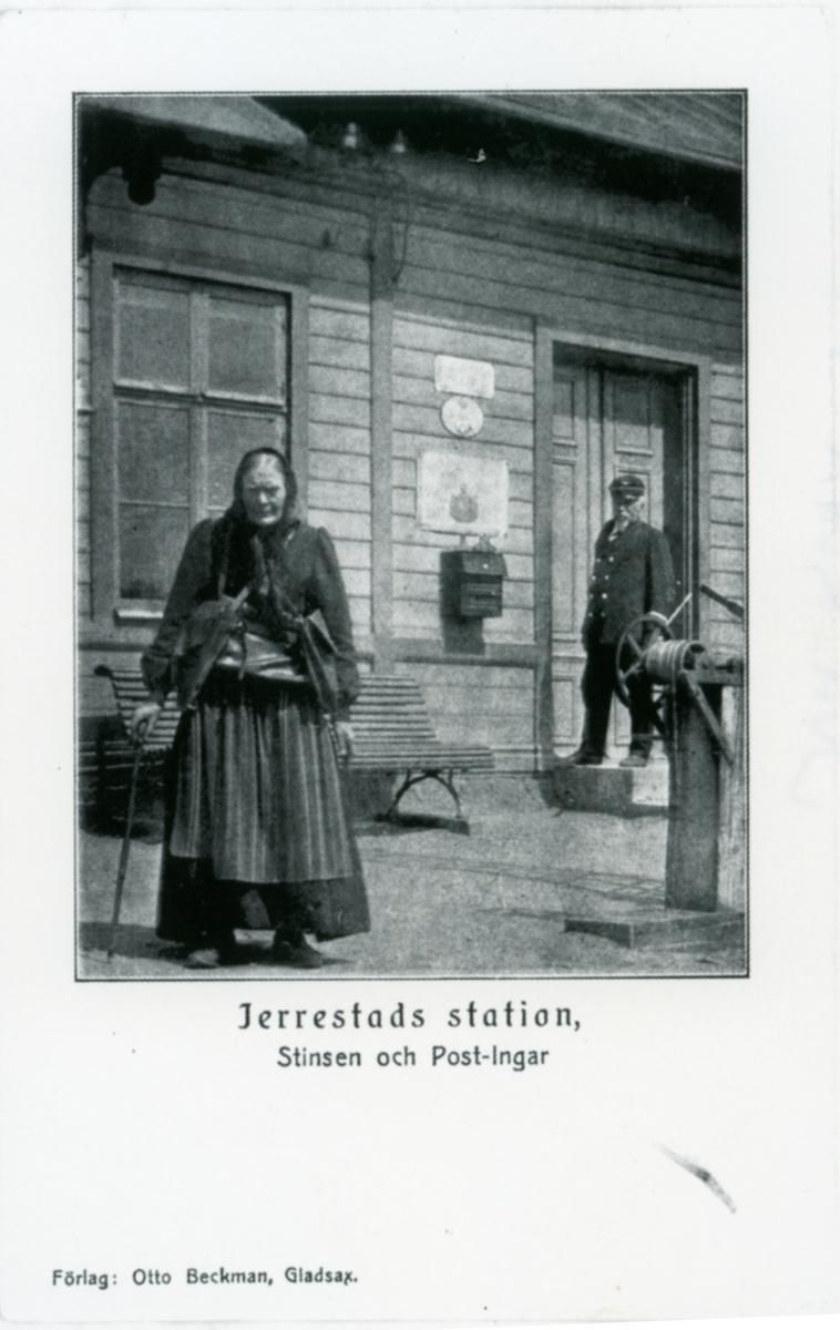 Järrestads station. Stationsinspektören och Post-Ingar.