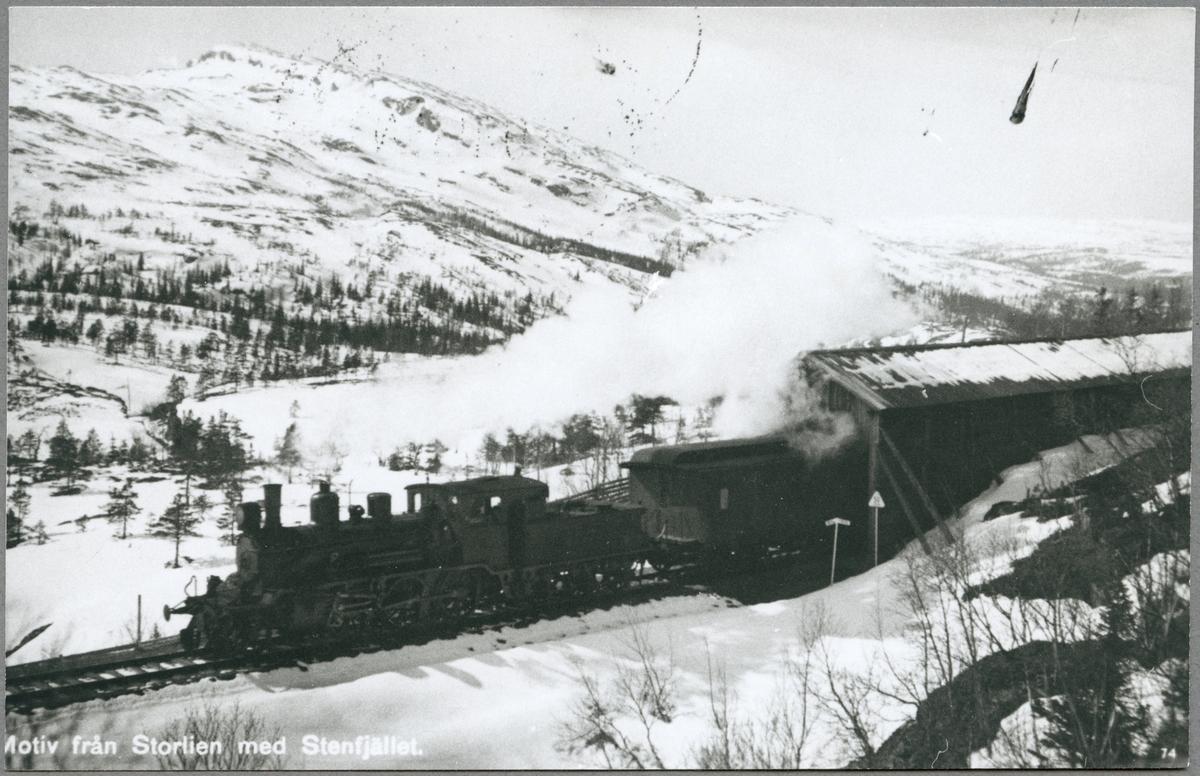 Ett ånglok har passerat tunneln vid Stenfjället i Storlien.