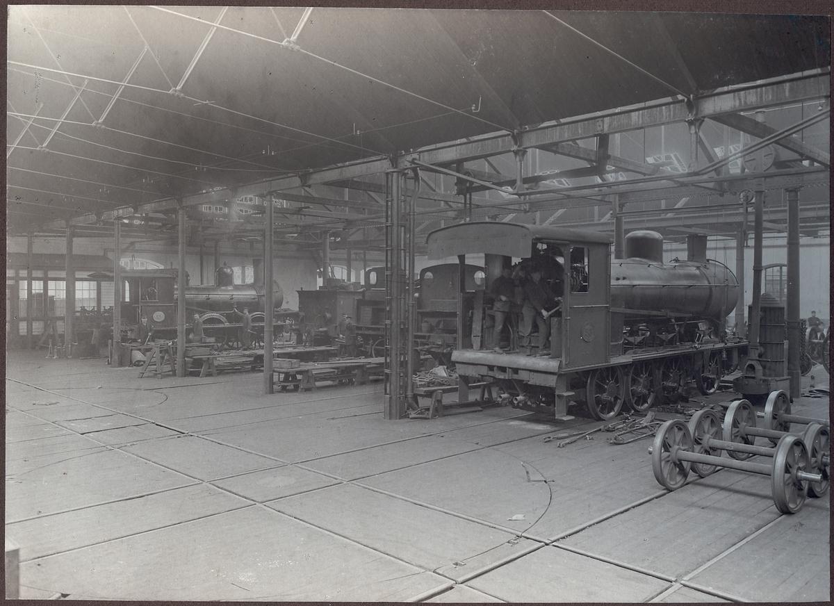 Lokomotivverkstaden i Åmål tillhörande Bergslagernas Järnvägar, BJ.