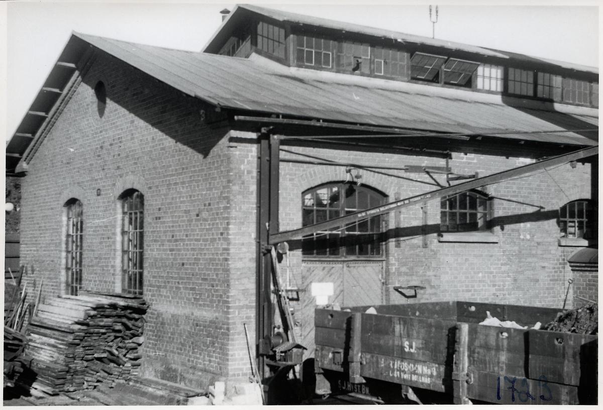 Vagnverkstaden i Bollnäs, Ångpannehuset mot sydväst. Statens Järnvägar, SJ Godsvagn öppen