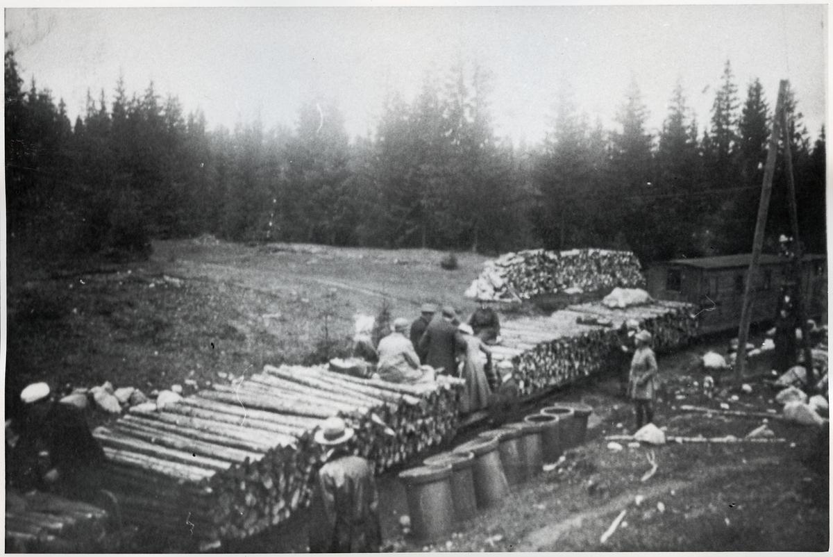Strax väster om Västerud 1918 Lindfors-Bosjöns Järnväg.