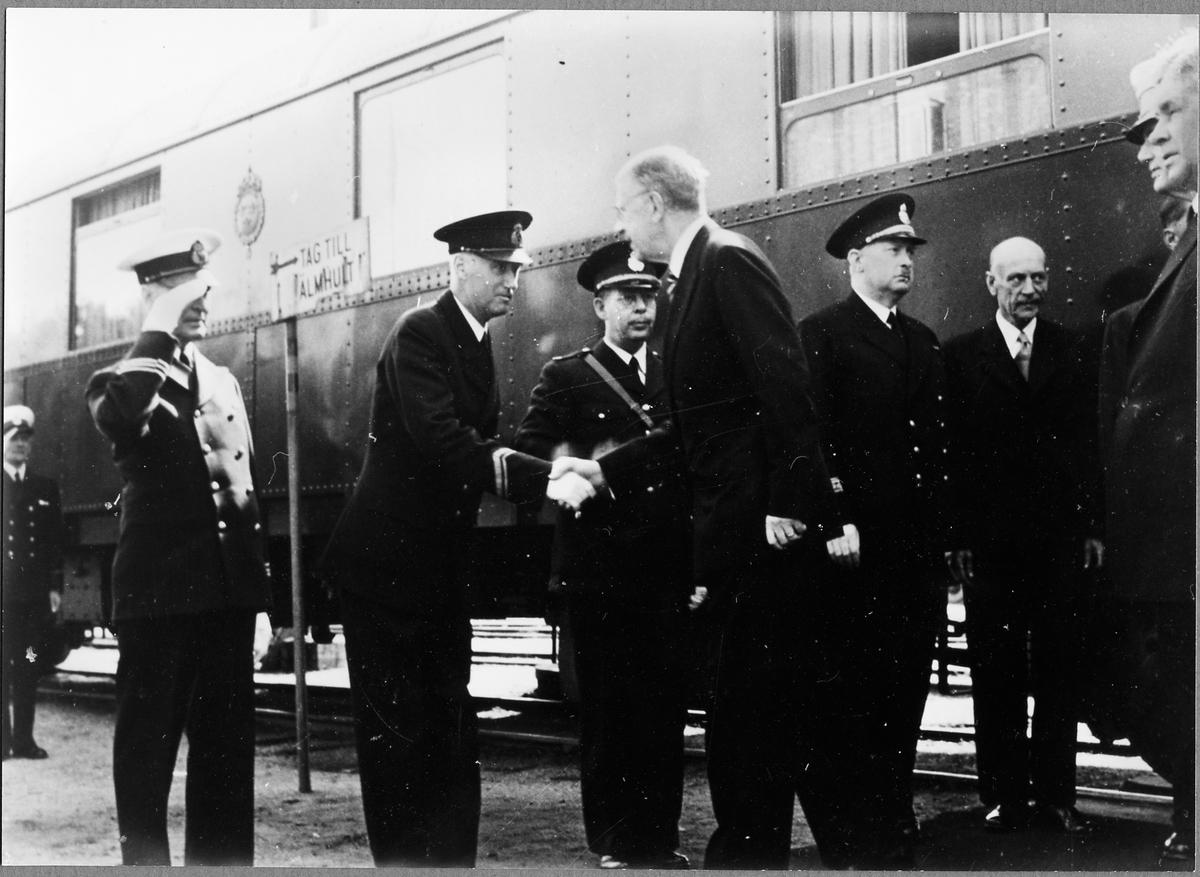 Konung Gustaf VI Adolfs på Sölvesborgs järnvägsstation.