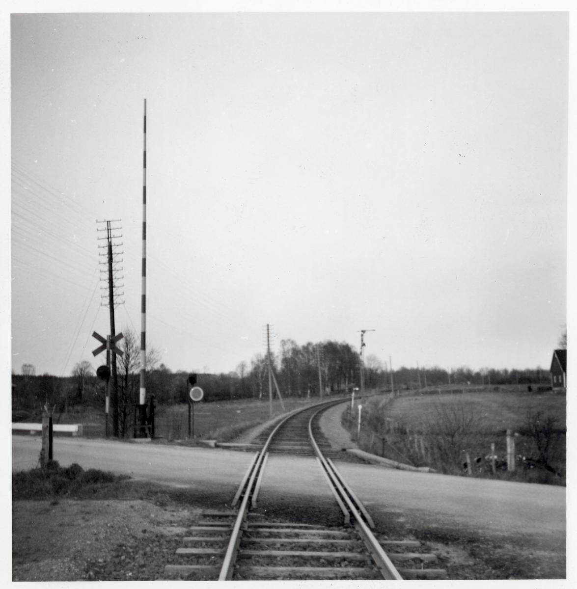 Järnvägsövergång vid Satserup, på sträckan mellan Linderöd och Hörby.