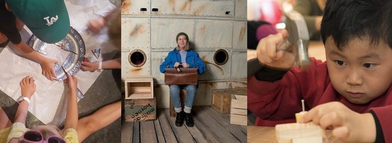 Collage med tre bilder. Barn som sitter på et gulv og setter sammen en knust keramikk tallerken, jente med reiseveske sitter på en kasse på en brygge og gutt med hammer slår inn spikker i en liten klossebåt.