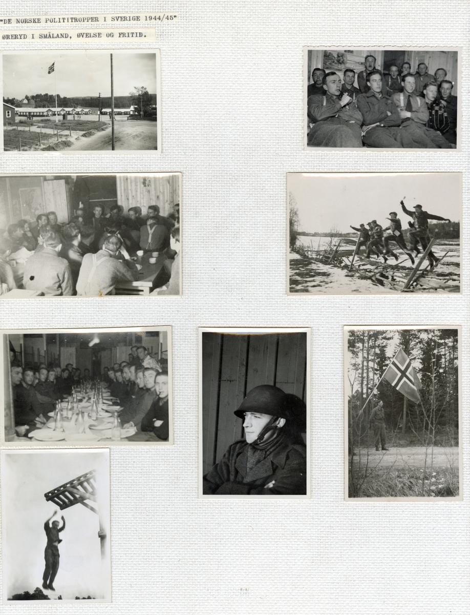 Norske polititropper under øvelse og fritid i Øreryd, Småland i Sverige 1944/45