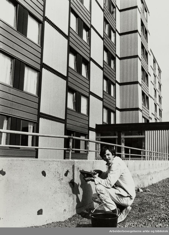 Furuset. Bjarte Kleppe legger siste hånd på Furuset alders- og sykehjem. Mai 1980