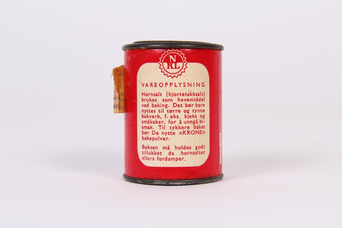 Ein liten dåse merka med Hornsalt, sekundært brukt til pomeransskall