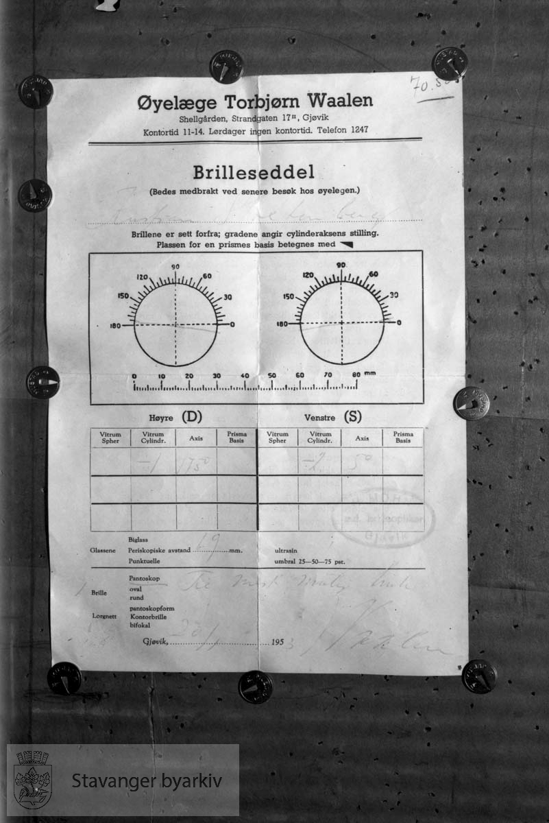 Brilleseddel fra Øyelege Torbjørn Waalen