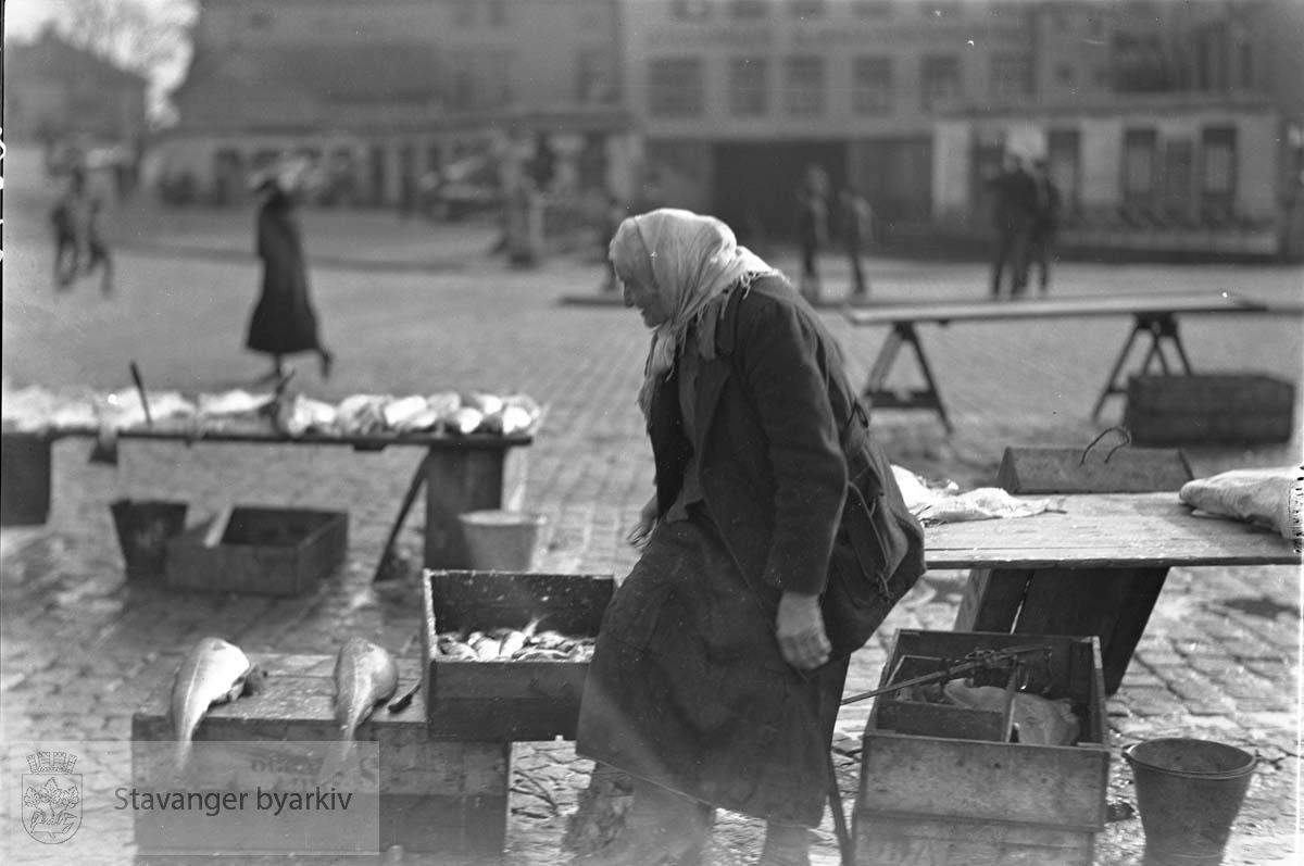 Jorina Hedde, fiskehandler, lengst på torget .Fisketorget