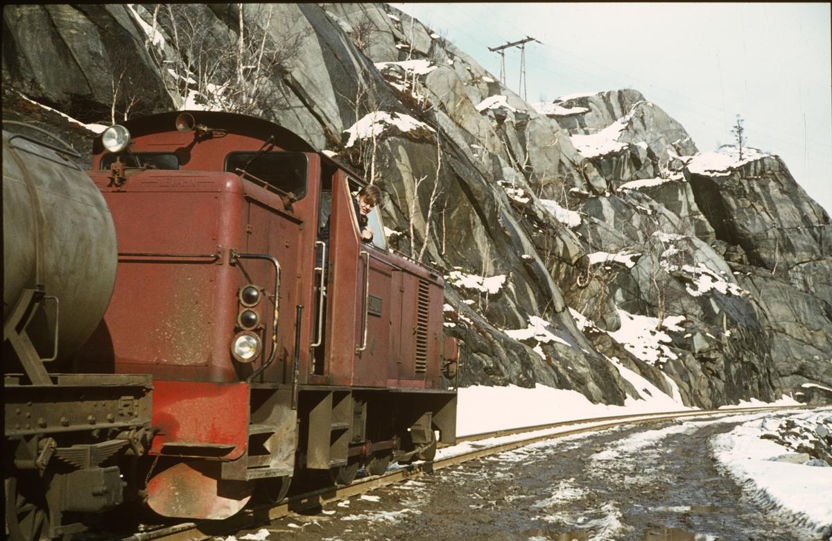 Anleggsarbeid langs Sulitjelmabanen. Banen ble nedlagt og erstattet av bilvei i 1972. Her er sporet ryddet slik at toget kan passere.