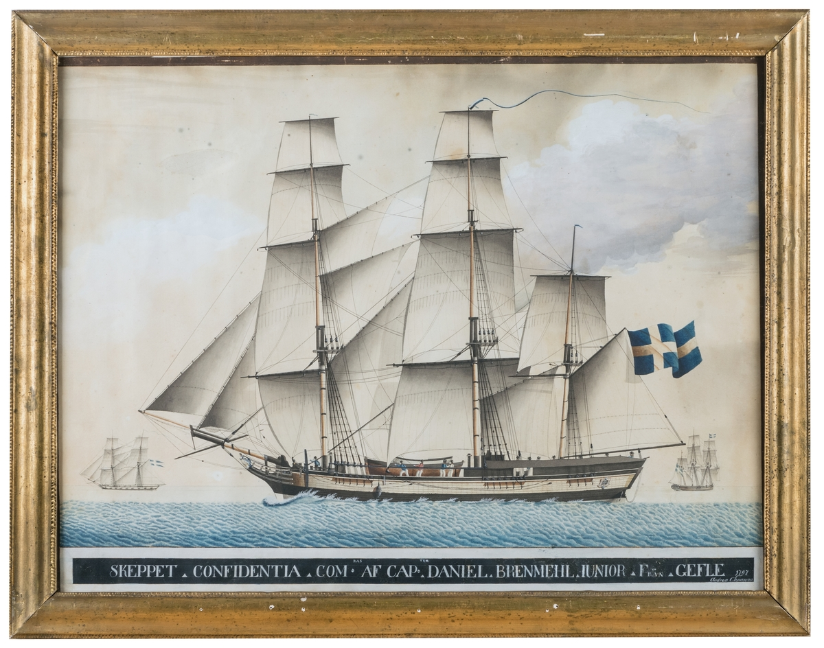 Akvarell av fullriggaren Confidentia av Andrea Capanna 1797.
