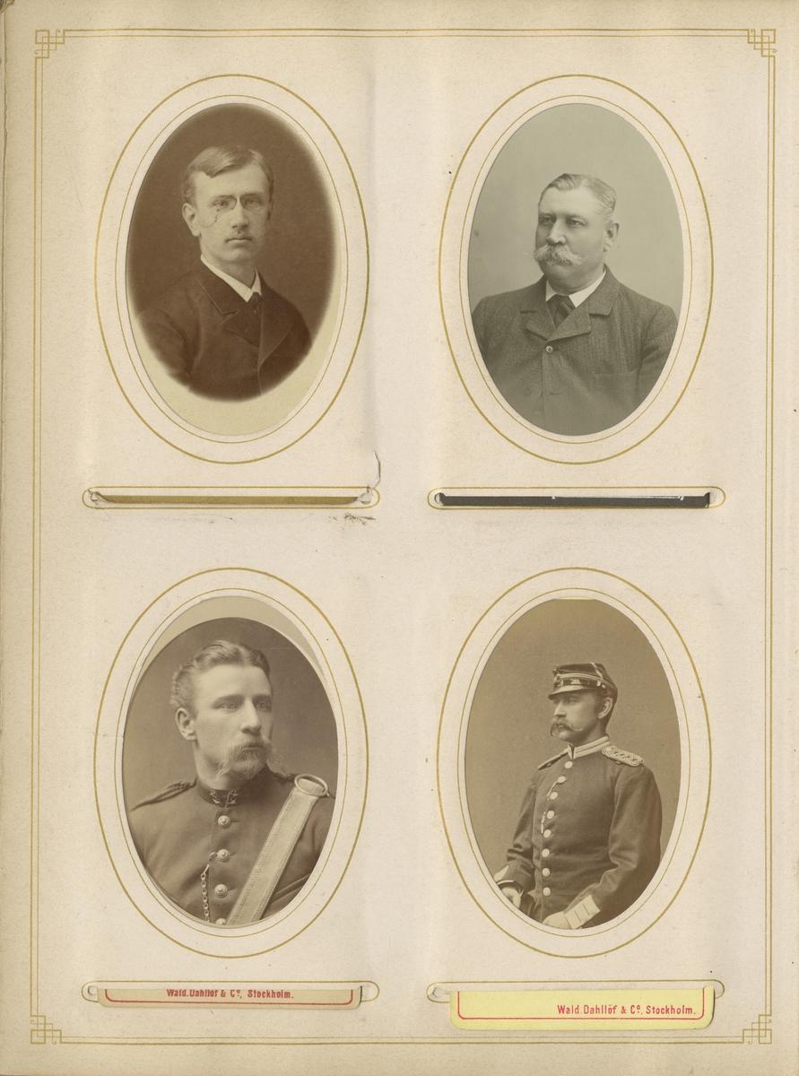 Porträtt av Wilhelm Jeremias Karlsjö, löjtnant vid Wendes artilleriregemente A 3.  Se även bild AMA.0009482.