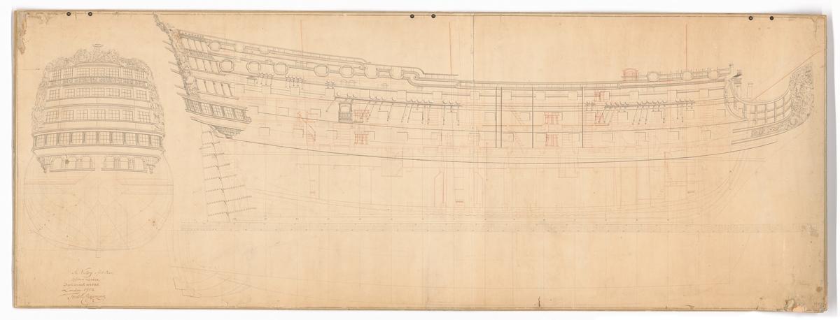 Spantruta med akterspegelsornament, konstruktionsritning i profil också med ornament och galjonsfigur.