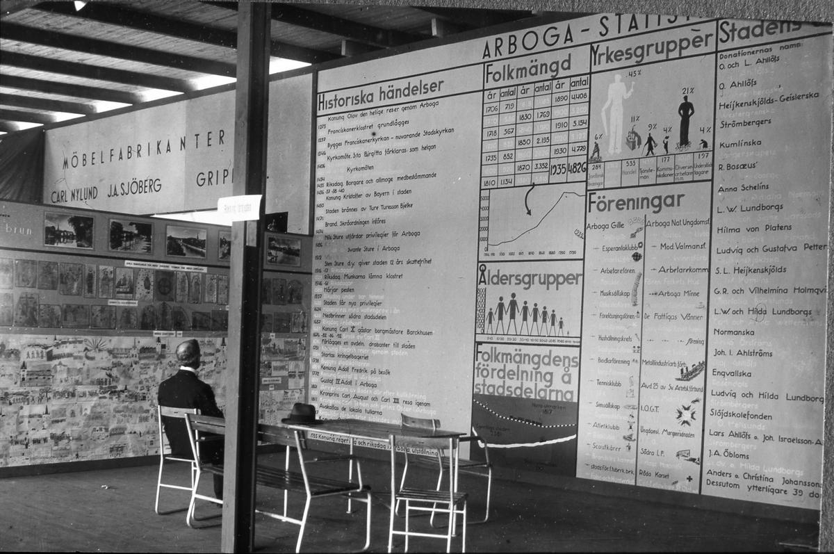 Kommunens monter på Arbogautställningen. Här visas bland annat statistik, historiska händelser och olika föreningar. Folkmängden är 4826 personer