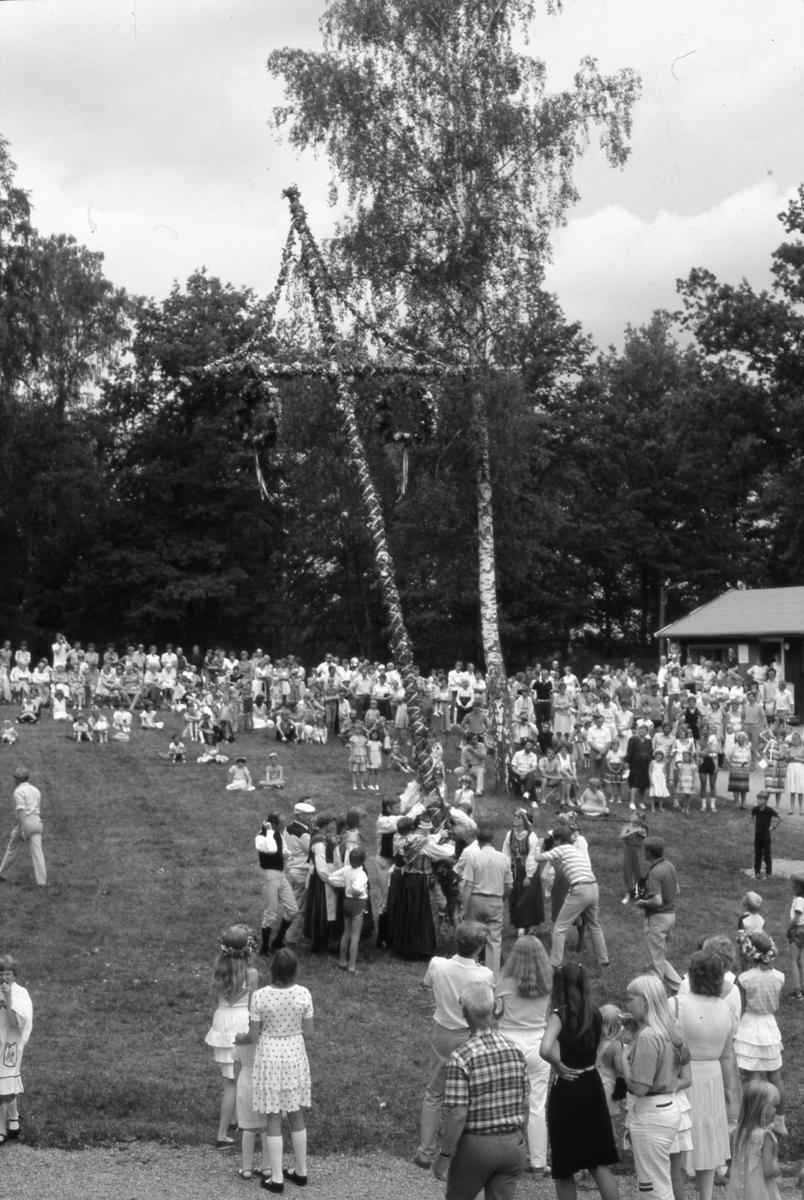 Midsommarfirande i Arboga Folkets park. Folkdanslaget, iklädda folkdräkt, hjälper till att resa midsommarstången. En stor publik ser på.
