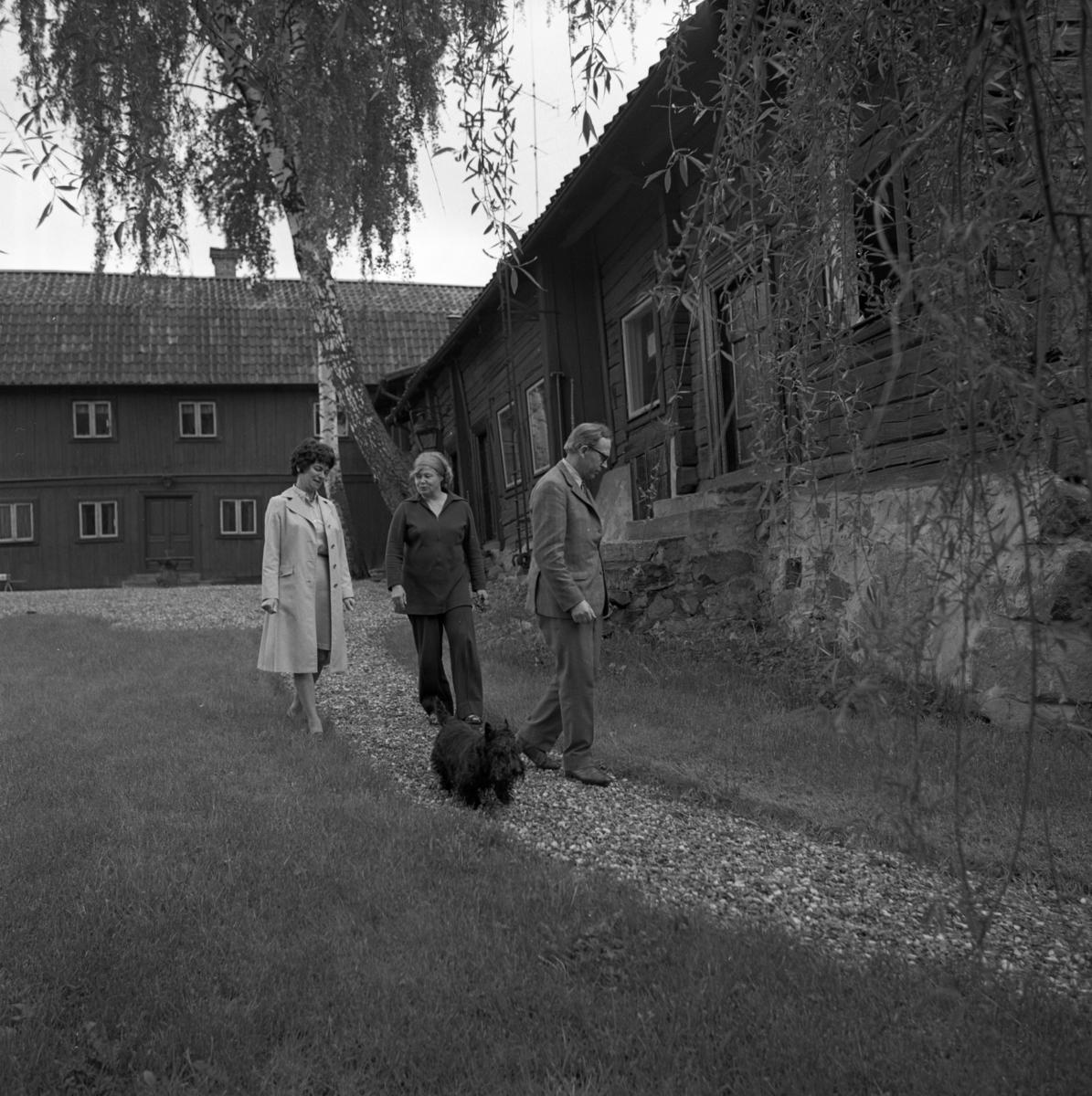 Ingegerd Stoltz, Britt Lundh (ägare av Crugska gården) och Bertil Stoltz i trädgården. Hunden Jack tillhör familjen Stoltz. Ågård.