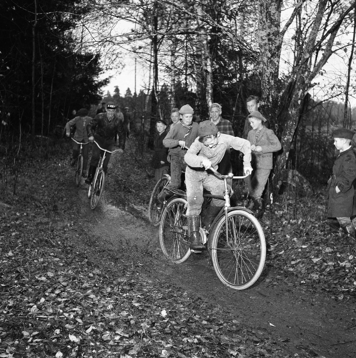 Cykelcross är ungdomarnas nya sportfluga. Här tävlar Kronorna från Arboga mot Rövarna i Fellingsbro. Banan är 450 meter lång.