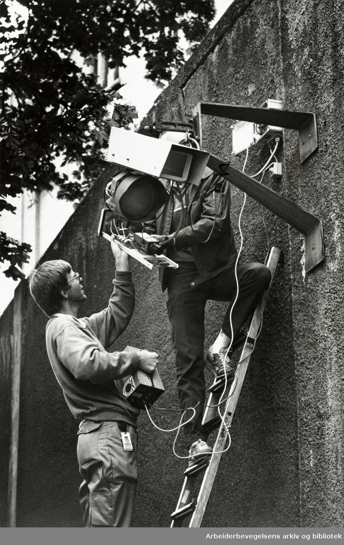 Kretsfengselet, Botsfengselet. Eksteriør. Securitas går over sikkerhets- og varslingssystemene. August 1989