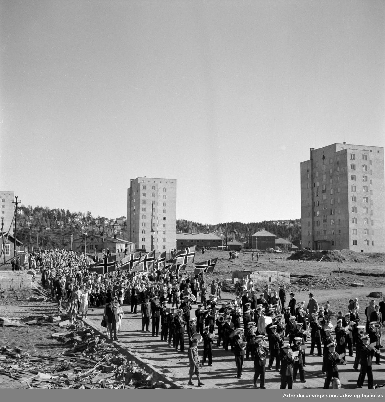 17. mai 1951 på Etterstad. OBOS. 17. mai-tog.
