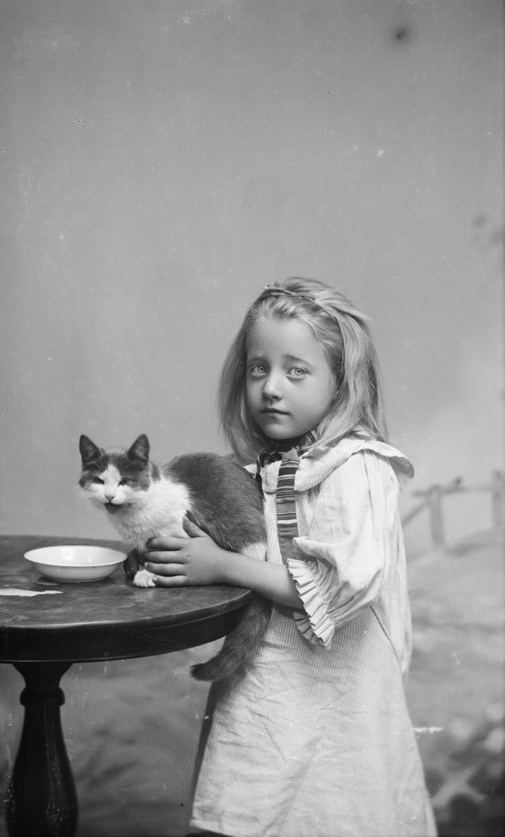 Jente i kjole med katt og melkeskål på et rundt bord.