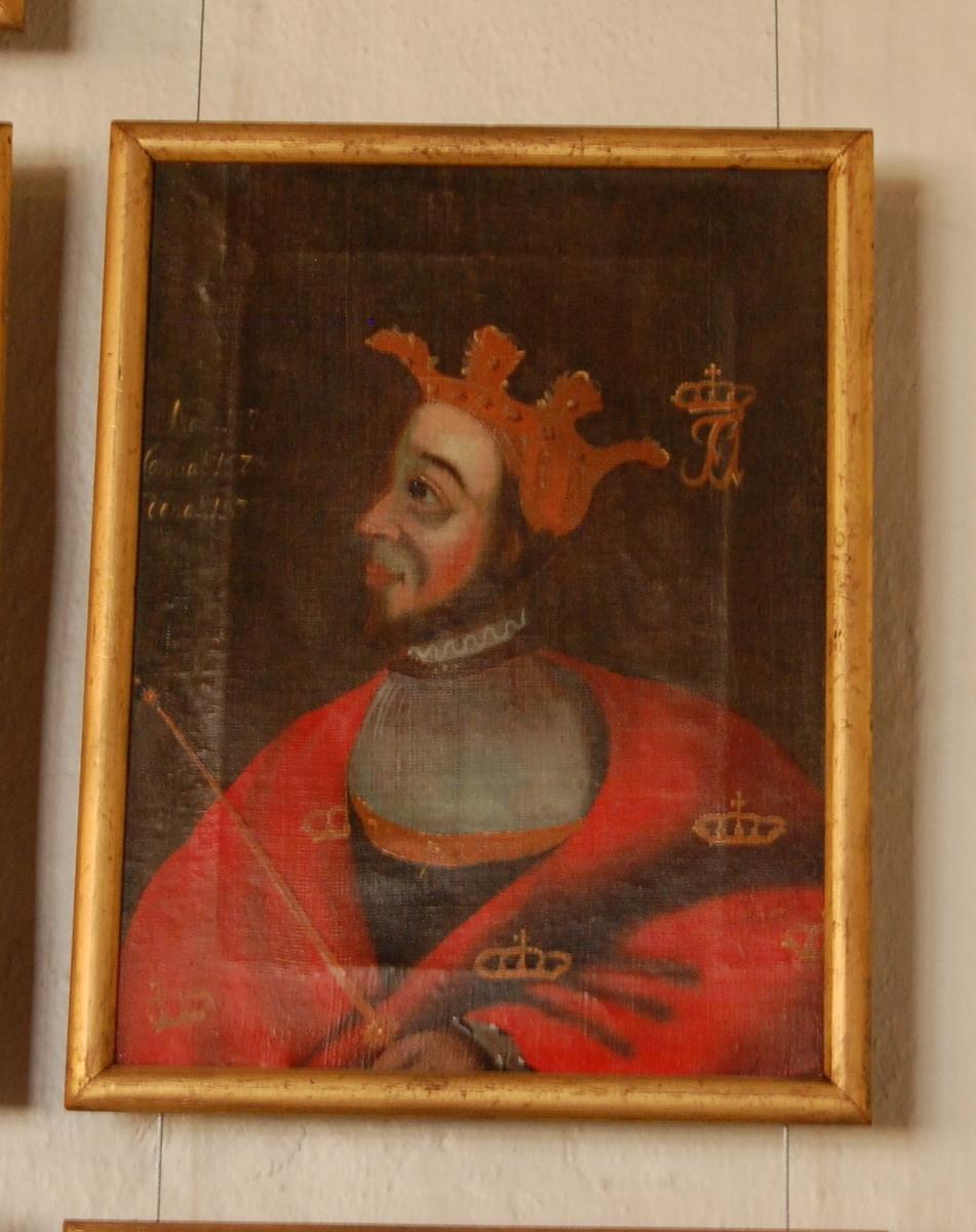 Portrett av Fredrik I. Olje på lerret. Halvfigur en face, hodet i profil mot venstre. Rød kappe med gullkroner, krone på hodet.