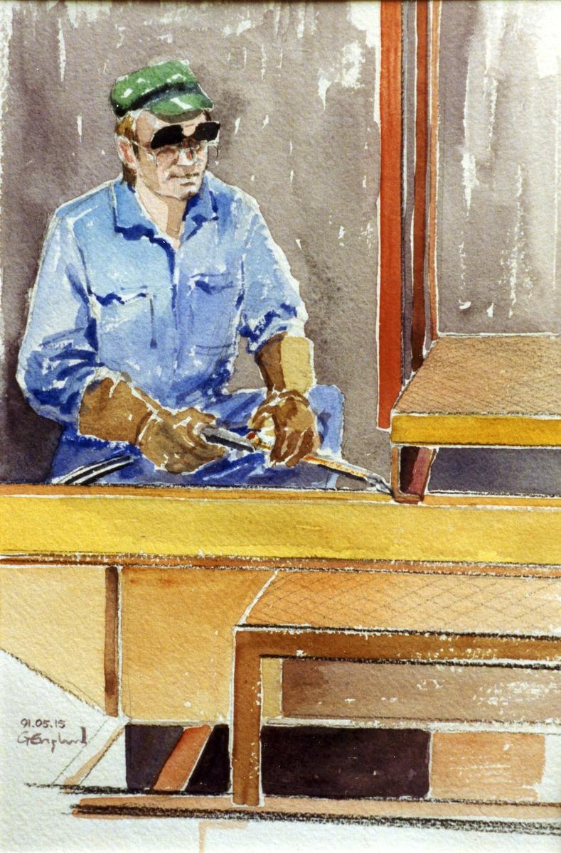 Leif Åström. 1991.05.15. AGEVE. Georg Englunds akvareller av/till arbetarna i Gävle när AGEVE flyttade 1993. En utställning i Paris 1993. Akvarellerna ställdes även ut i lunchrummet på AGEVE.
