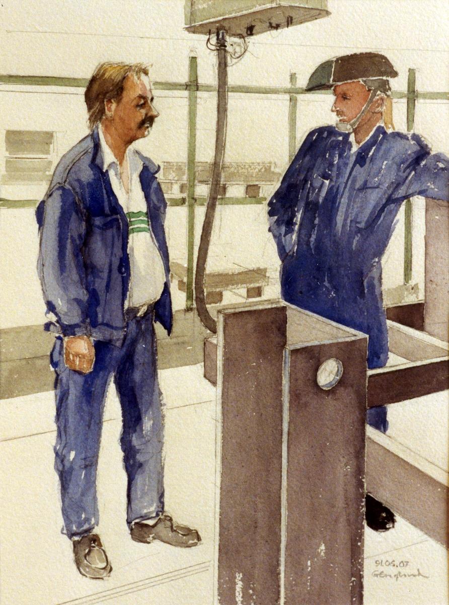 Kjell Lindblom och okänd. 1991.06.07. AGEVE. Georg Englunds akvareller av/till arbetarna i Gävle när AGEVE flyttade 1993. En utställning i Paris 1993. Akvarellerna ställdes även ut i lunchrummet på AGEVE.