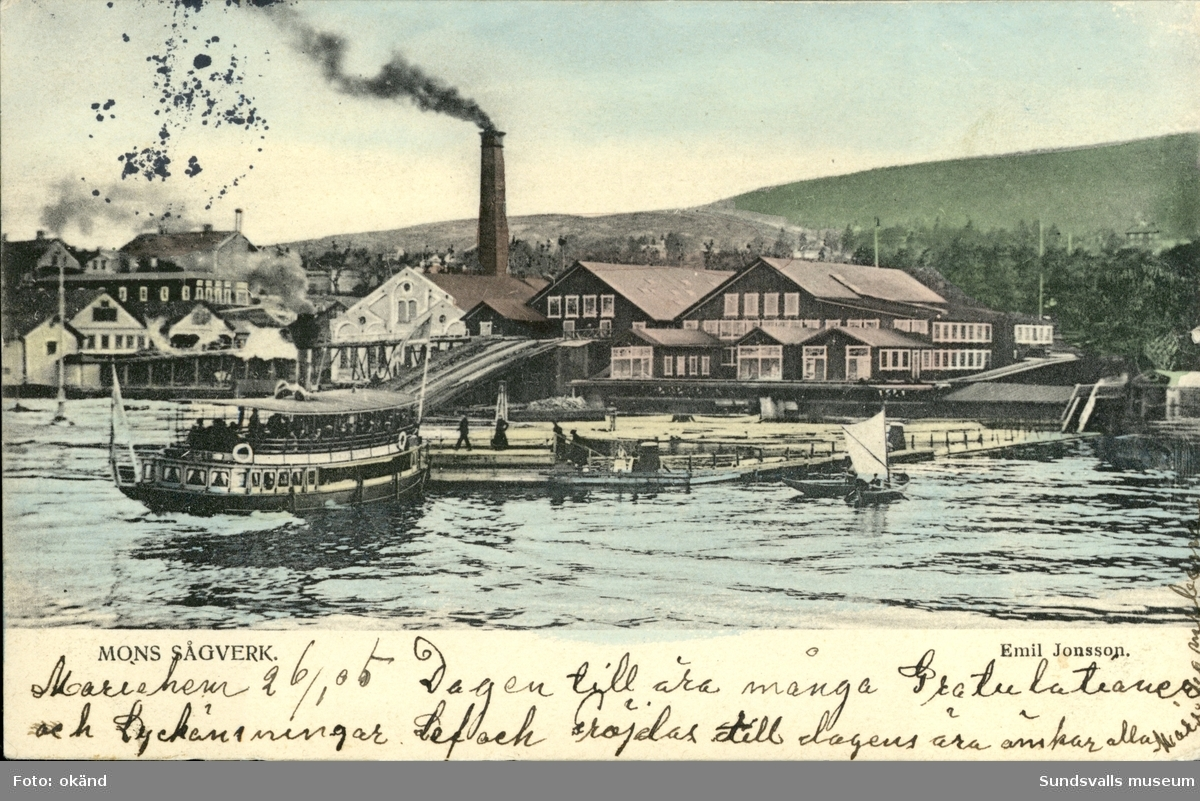 Vykort med motiv över Mons sågverk i Sundsvall.