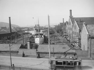 Trondhjems Mekaniske Verksted, TMV, sett fra Innherredsveien 1910-1915 (Foto/Photo)