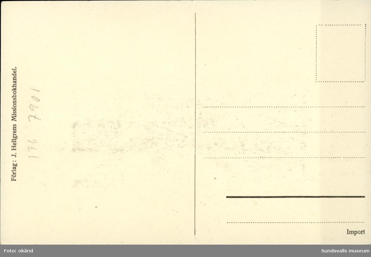 Vykort med motiv över Vindhem, segelsällskapets klubbhus i Sundsvall. Uppfört 1911.
