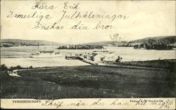 Vykort med motiv över bryggan i Tynderösundet.