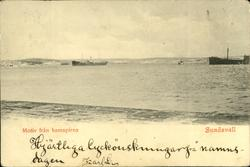 Vykort med motiv från hamnpiren i Sundsvall.