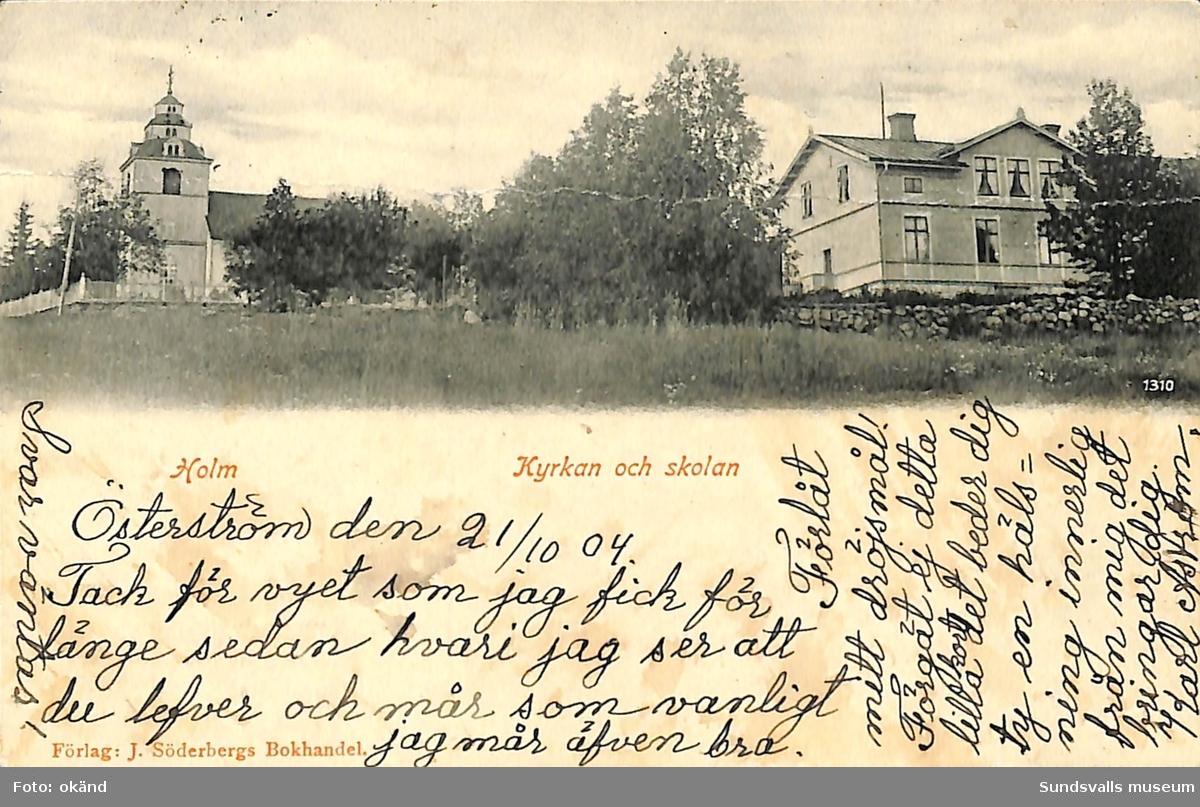 Vykort med motiv över kyrkan och skolan i Holm.