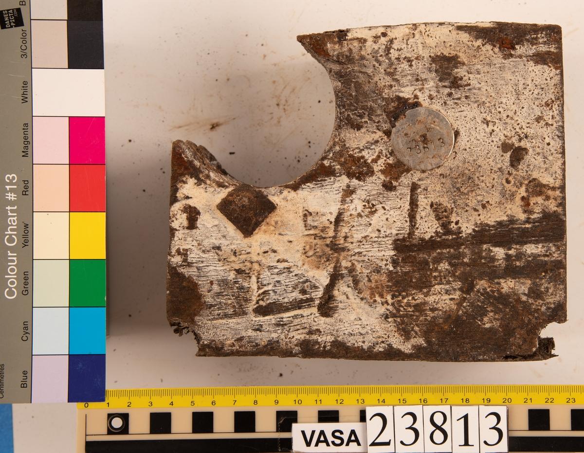 Del av bordläggningsplanka. Biten har två borrspår och ett stort genomgående hål från tidigare dränering.