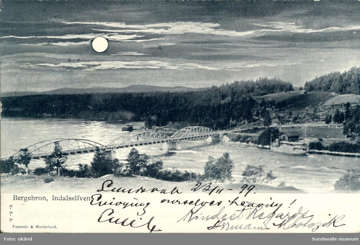 Vykort med motiv över Bergebron i månsken.