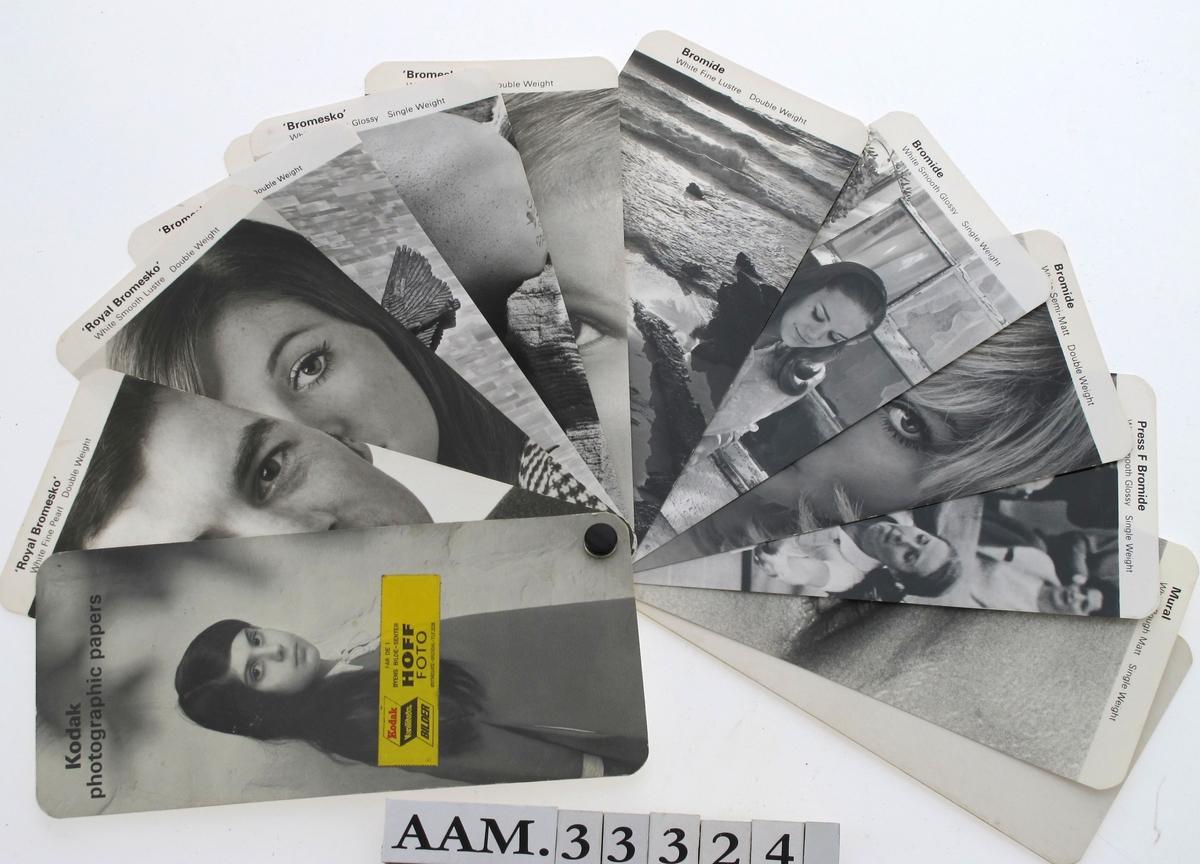 Fotopapir, 10 ulike typer, heftet sammen i en vifte. Med etikett fra lokalt fotofirma påklebet forsiden.