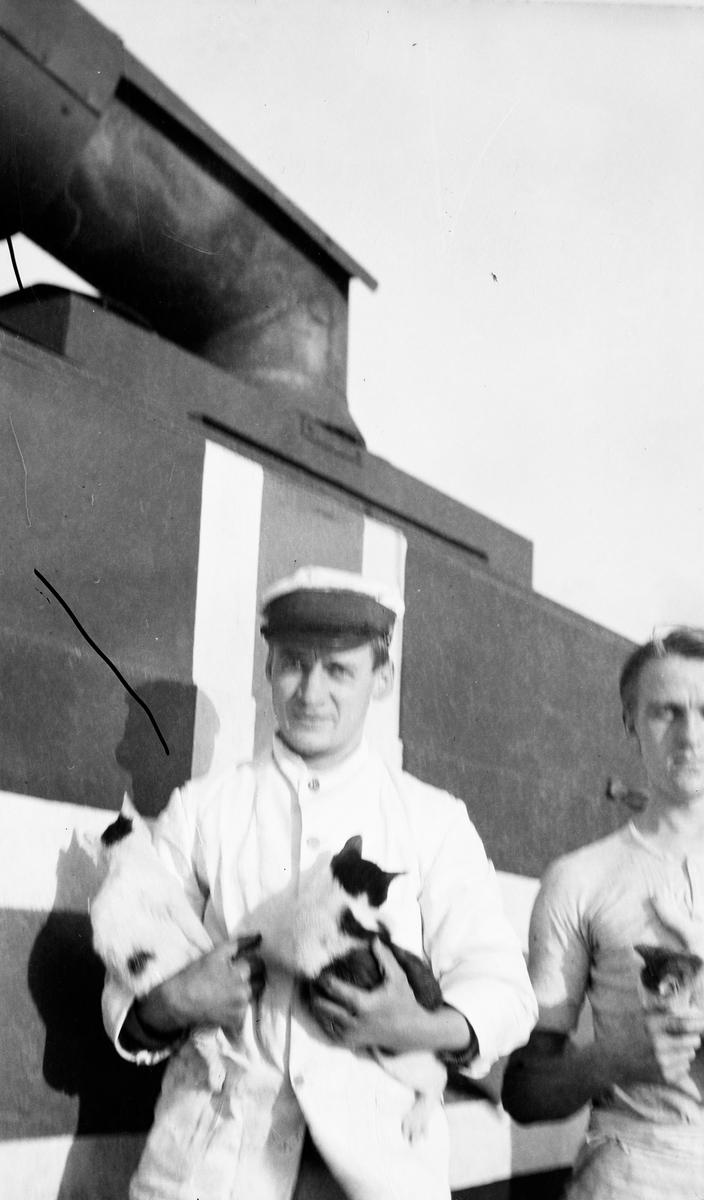 To menn med kattunger på dekk om bord på DS STORFOND, mannen til venstre er stuert Lars Johansen.