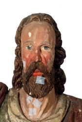 Träskulptur föreställande aposteln Mattias i Brahekyrkan på