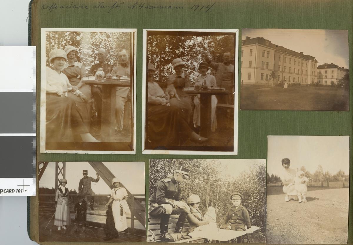"""Text i fotoalbum: """"Kaffe med avec utanför A 4 sommaren 1914""""."""