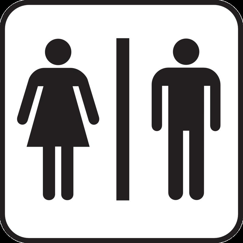 Toalettskilt; hvit bakgrunn og symbol for dame og mann i svart, atskilt med en svart strek (Foto/Photo)
