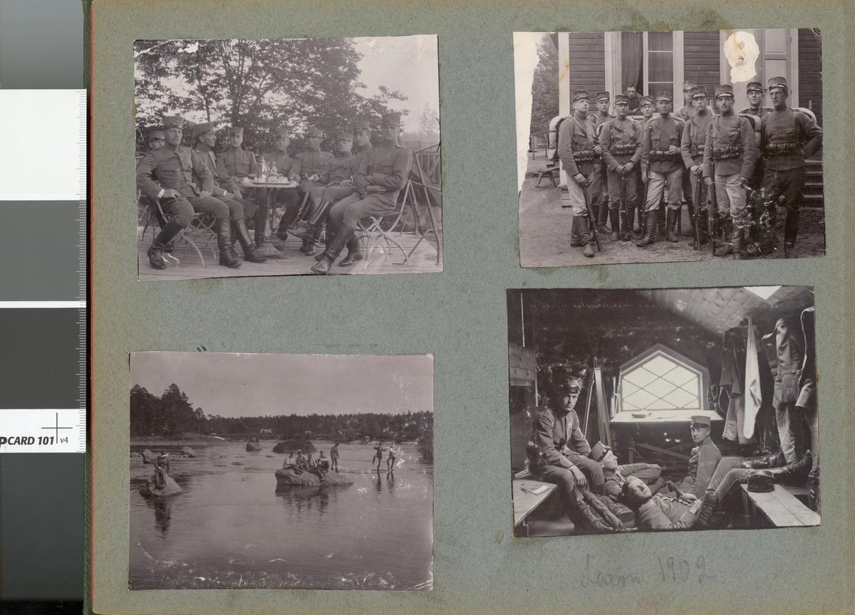 Soldater från Fortifikationen uppställda utanför byggnad, Laxön 1902.