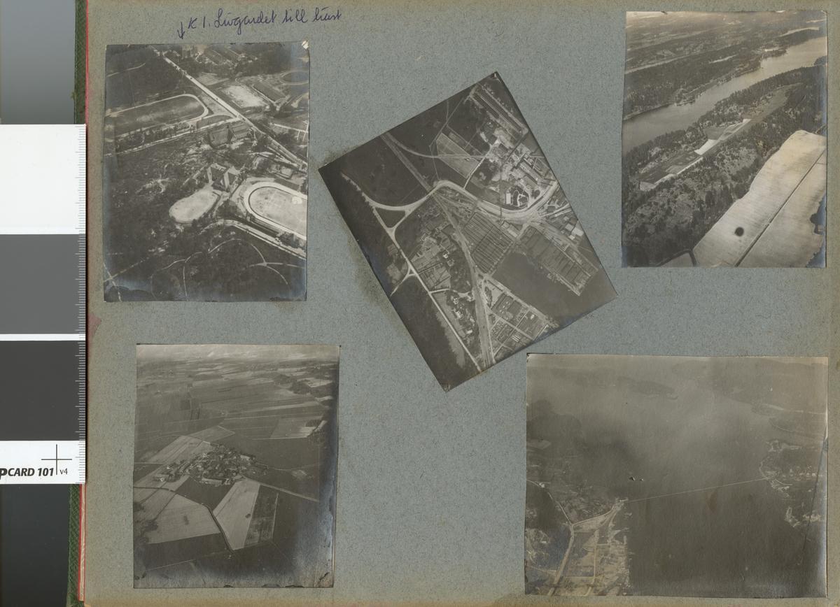 Flygfoto taget från luftballong. Högst upp i bild; Livgardet till häst K 1, Stockholm.