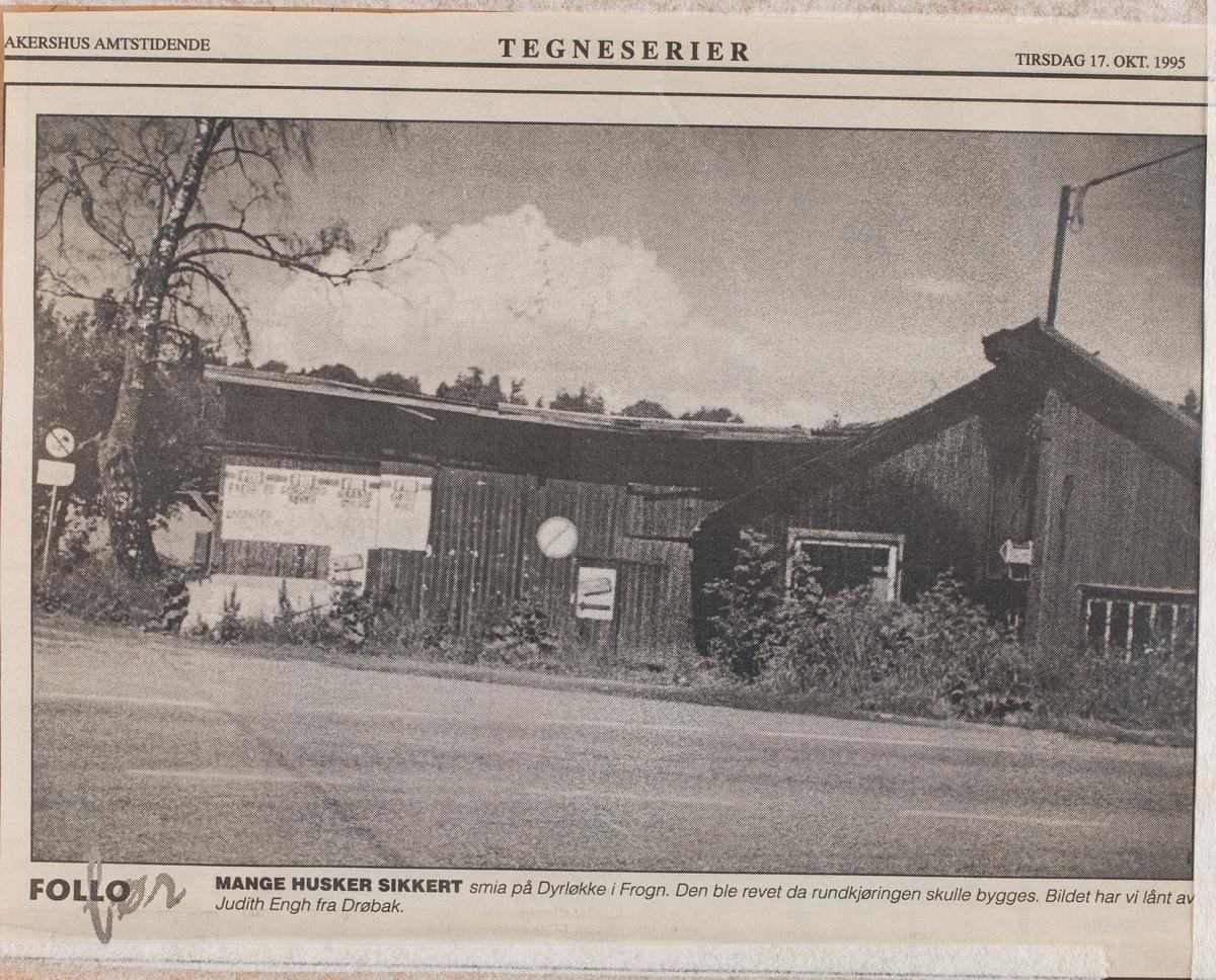 Den gamle smia på Dyrløkke, Frogn (før rundkjøringen kom).