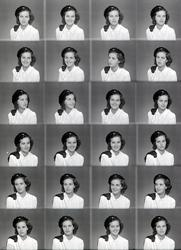 Portrettserie av Eva Jørgensen, med studentlue. Studentbilde