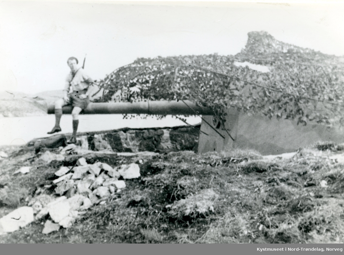 Kanonstilling på Strømsøya i Nærøysundet på Rørvik