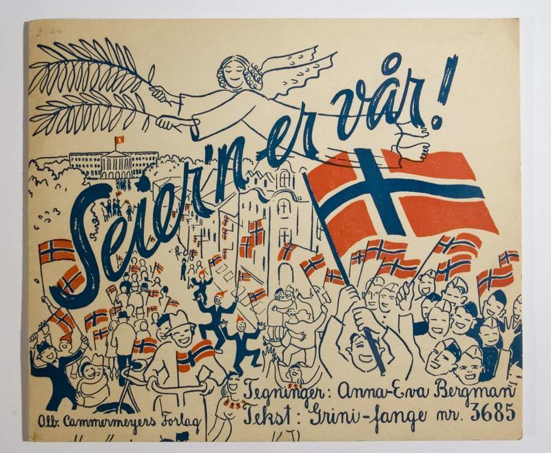«Seier´n er vår» er en illustrert novelle om da freden kom til Norge i mai 1945. Heftet er illustrert av kunstner Anna-Eva Bergman og er skrevet av Frithjof Lange. (Foto/Photo)