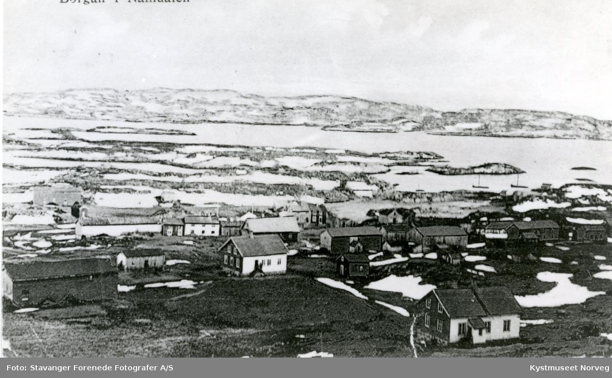 Postkort med utsikt over Borgan i Vikna kommune