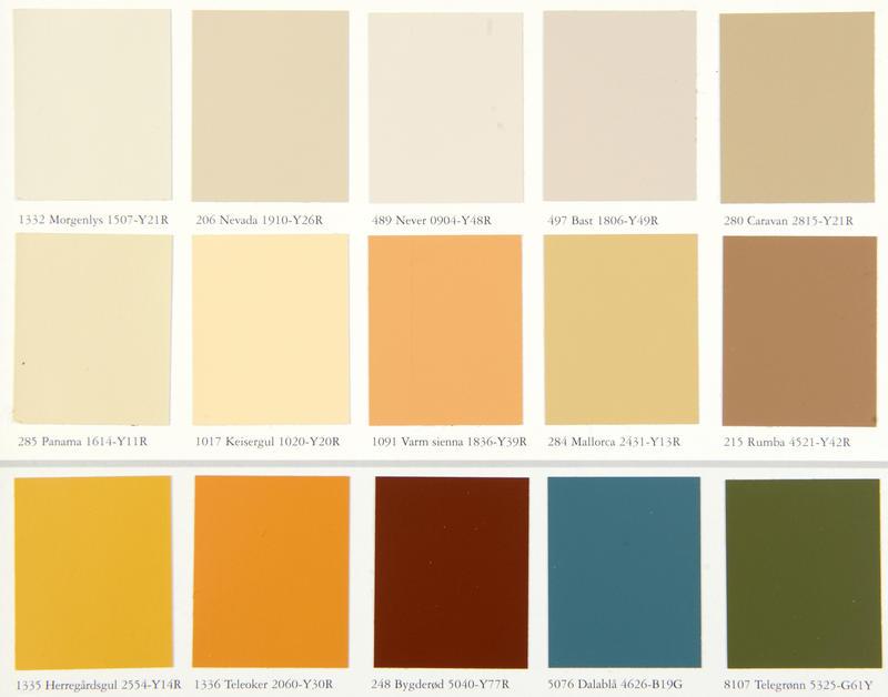 Utsnitt av fargekart fra Jotun, 1999. Fargekartet har fått navnet Interiørklassikere og byr på «60 tidløse farger». Mange av fargenavnene er å finne igjen i fargekart fra 1950-tallet og senere, som «elfenben», «antikkhvit», «mimosa» og «benhvit». Det er kanskje først og fremst de «tradisjonelle jordfargene» som «bondeblå», «bygderød» og «hallinggul» de fleste forbinder med «tidløs», norsk bonderomantikk. Men også «mallorca» har vært på markedet såpass lenge at den har fått plass blant de tidløse klassikerne. (Foto/Photo)