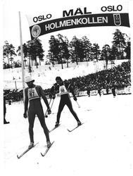 """""""Kollen"""". Thomas Wassberg i mål 50 km, fulgt av nr. 3 Lindvo"""